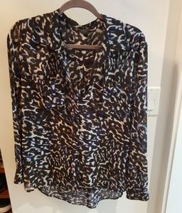 Guess Collared Animal Print Blouse